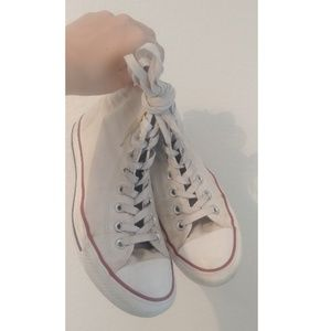 White Converse Chuck Taylor High Top Sneakers